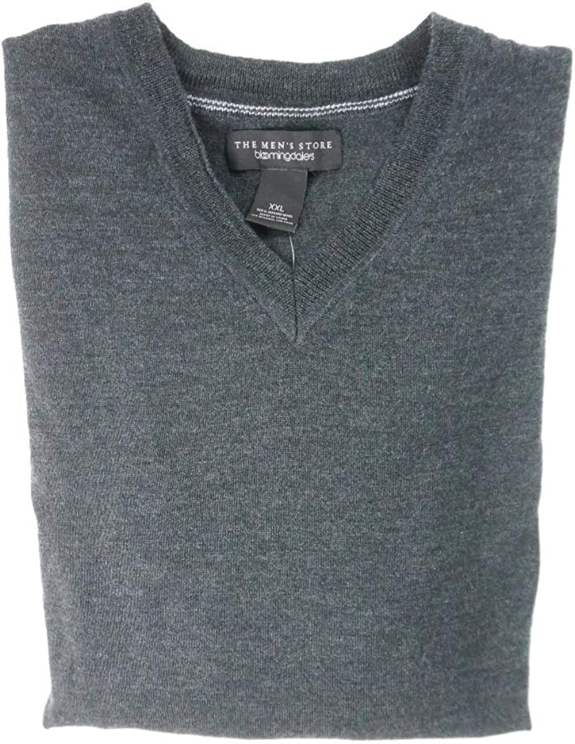 Bloomingdale's New $88 100% Sales results No. 1 Merino Wool Sweater Fixed price for sale V-Neck Dark Gray