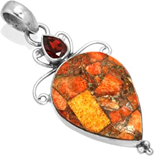 Natural Red Polychrome Gemstone Collectible Jewelry Solid 925 Sterling Silver Pendant