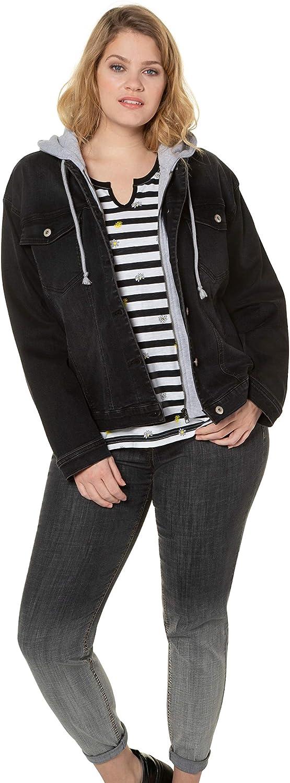 Ulla Popken Womenswear Plus Size Curvy Oversize 2 in 1 Sweatshirt Inset Long Sleeve Denim Jacket 747352