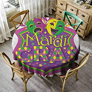 Lauren Russell Printed Tablecloth Mardi Gras Comedy and Tragedy Masks with Festive Mardi Gras Carnival Blazon Design Purple Green Yellow Patio Round Tablecloth Diameter 50