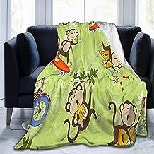 LOVE GIRL Blanket Monkeys Play Funny Bike Throw Blanket Ultra Soft Velvet Blanket Lightweight Warm Premium Bed Blanket For Bed Couch Living Room