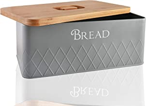 Baking & Beyond Bread Box with Bamboo Cutting Board Lid - Space-Saving Bread Box for Kitchen Countertop, Bread Storage Con...