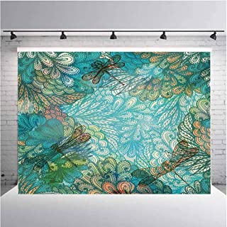 Dragonfly Photography Background Cloth Fantasy Flowers Mixed in Various Tones Shabby Chic Feminine Beauty Print for Photography,Video and Televison 5ftx4ft Turquoise Amber