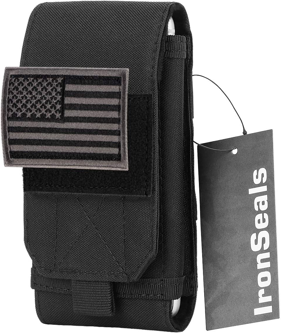 IronSeals Tactical Molle Phone Cover Case, Heavy Duty Loop Belt Holster Pouch with Flag Patch for iPhone 13 Pro Max/13 Pro/13/12 Pro Max/12 Pro/12/11 Pro Max/Xs Max/XR/X, Samsung S21/S20/S10, Size L