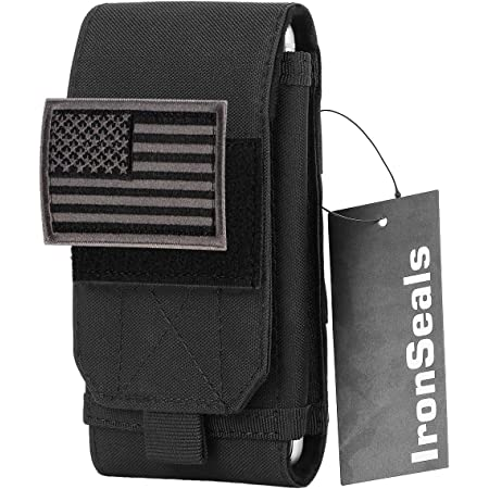 IronSeals Tactical Molle Mobile Phone Cover Case, Heavy Duty Loop Belt Holster Pouch with Flag Patch for iPhone 12 Pro Max/12 Pro/12/11 Pro Max/XS Max/XR/X/8P, Samsung S20/S10/S10e/S9+/S9/S8+, Size L