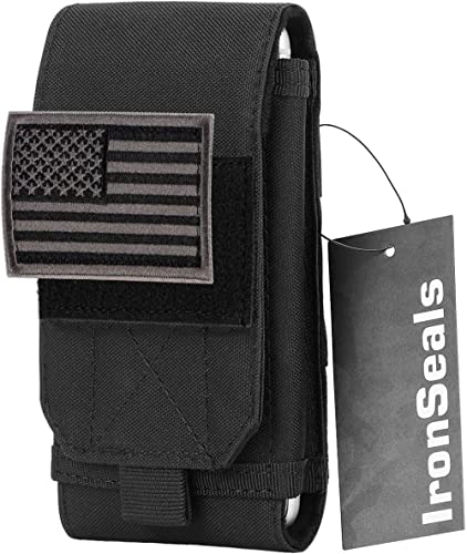 IronSeals Tactical Molle Mobile Phone Cover Case, Heavy Duty Loop Belt Holster Pouch with Flag Patch for iPhone 12 Pr...