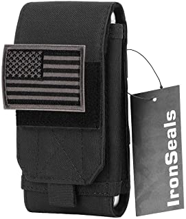 IronSeals Tactical Molle Mobile Phone Cover Case, Heavy Duty Loop Belt Holster Pouch with Flag Patch for iPhone 12 Pro Max...