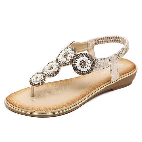 b8ab6f62f0d4f4 ZOEREA Lady Sandals T-Strap Bohemia Women Beach Dress Style Shoe Summer  Holiday