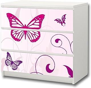 Mariposa pegatina de muebles | M3K04 | Pegatinas adecuadas para la cómoda MALM con 3 compartimentos de IKEA (el mueble n...