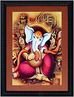 ART N HUB Ganesha Textured UV Effect with Acrylic Glass Painting - Abstract Modern Art Home Wall Décor Hangings Gift Items