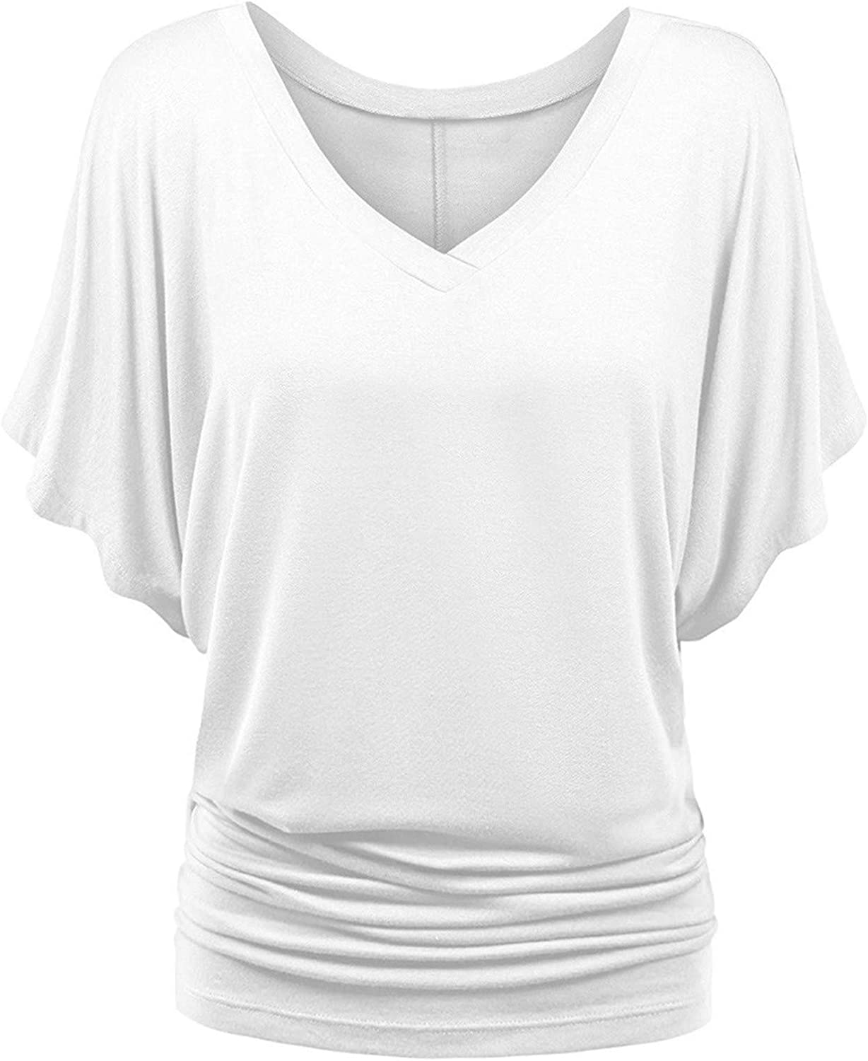 Aukbays Women's Solid Batwing Sleeve Boat Neck V Neck Dolman Top with Side Shirring Tees Blouses Shirts Tunic