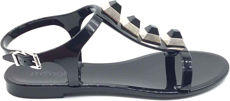 MENGHI Art.878 Sandalo Schmuck aus echtem Gummi, mit Steinapplikationen Farbe  Schwarz