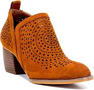 Gc Shoes Women's Ricky Almond Toe Laser Cut Detailing Suede Ankle Booties