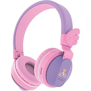 Riwbox BT05 Wings Kids Headphones Wireless Bluetooth Foldable Over Ear Headset with Volume Limited and Mic/TF Card Compatible for iPad/iPhone/Tablet (Purple&Pink)