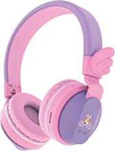 Kids Headphones, Riwbox BT05 Wings Foldable Headphones Wireless Bluetooth Over Ear 85dB/103db Volume Control Wireless Headphones with Mic/TF Card Compatible for iPad/iPhone/PC/Kindle (Purple Pink)