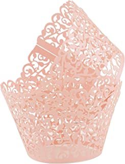 Pink Cupcake Wrappers 100pcs/pack Lace Cupcake Liners Laser cut Cupcake Papers cupcake cups Muffin cups for Wedding/Birthday Party Decoration