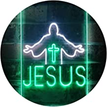Jesus Saves Crosses Church Dual Color LED Neon Sign White & Green 400 x 600mm st6s46-i3245-wg