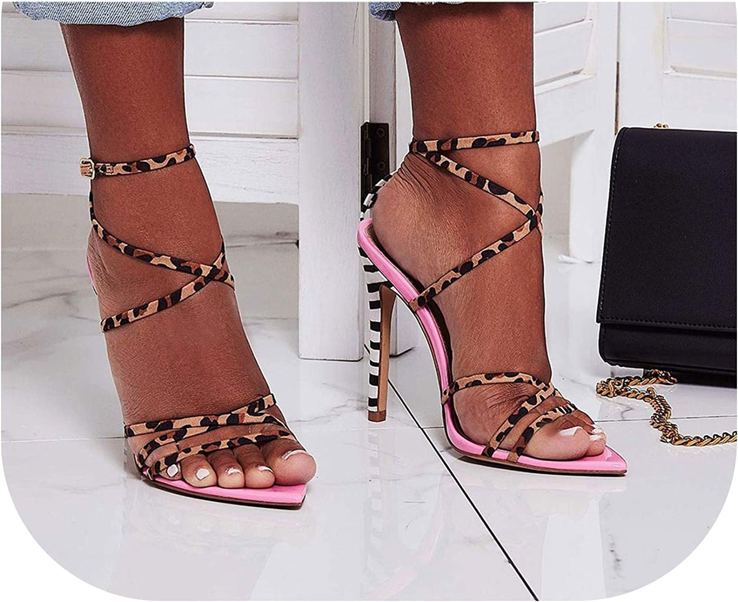 Alerghrg Striped High Stiletto Heels Sandals Mixed colors Leopard shoes Woman Pointy Open Toe