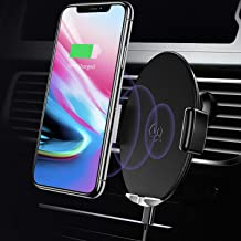 Wireless Car Charger Car Mount Automatic,USAMS 10W Qi Fast QI Standard Phone Holder 360°Rotate for All Qi-Enabled Phones Galaxy Note 9/S9/S9+/S8/S8+/S7/S7 Edge/8/5, iPhone Xs Max/XS/XR/X (Black-2)