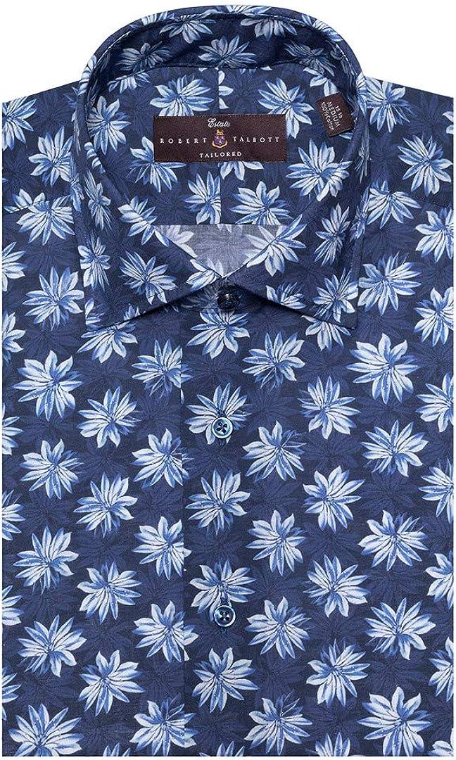 Robert Talbott Men's Pacific Zephyr Print Estate Tailored FIT Spread Collar Dress Shirt Size 17.5