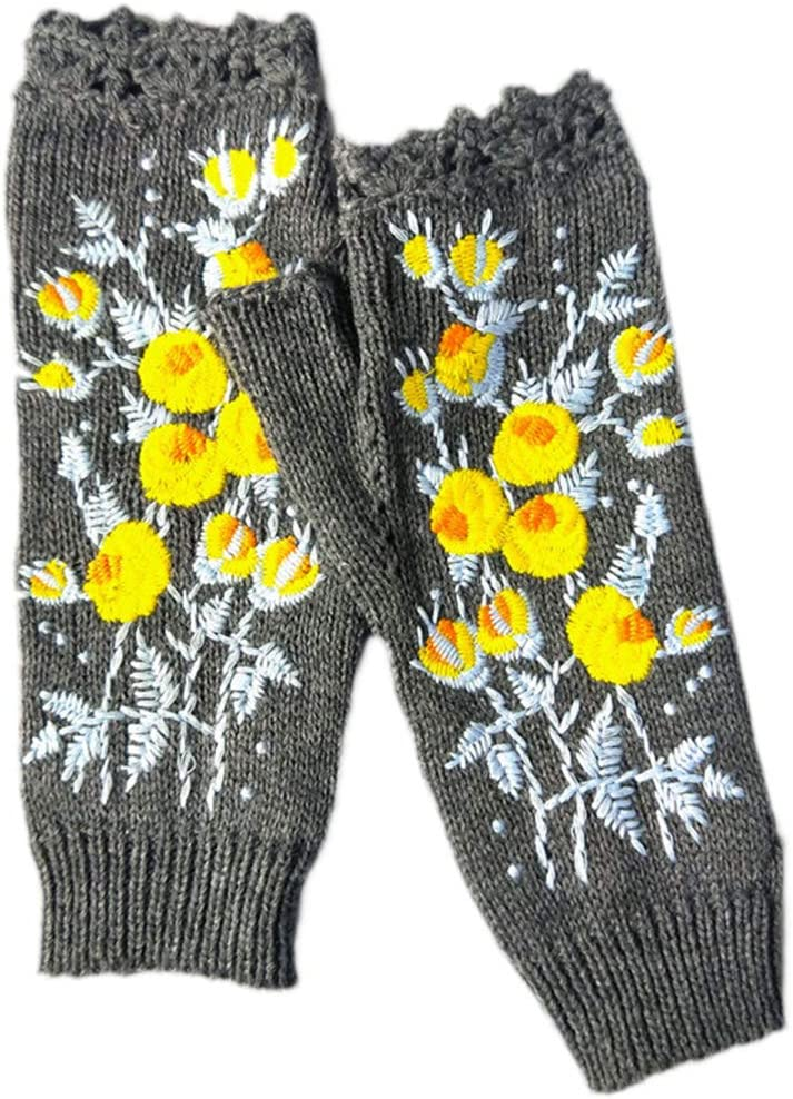 KYSA Wrist Warmer - Knitted Fingerless Gloves - Floral Embroidery Mittens - Women Thumbhole Arm Warmers - Winter Gift
