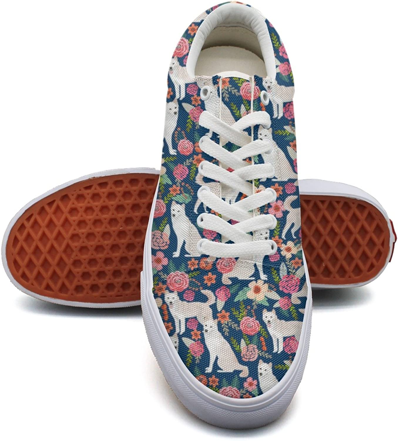 Feenfling White Jindo Dog Flowers Womens Denim Canvas shoes Low Top Fashion Tennis shoes for Women's