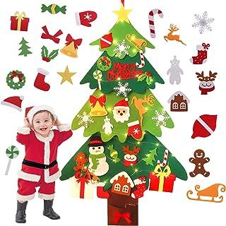 Fieltro Árbol de Navidad, Outgeek Árbol de Navidad de Fieltro Árbol de Navidad Educativo de Bricolaje con 30PCS Adornos y luz de Cadena LED