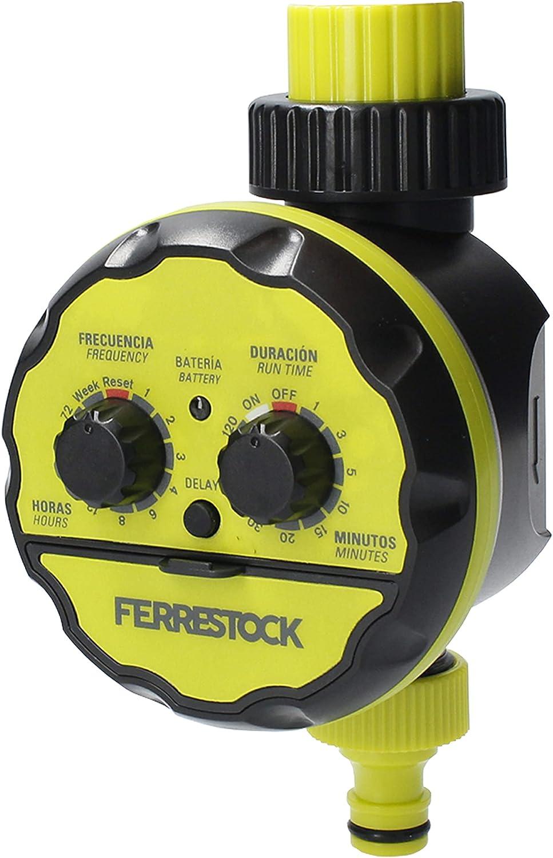 """Ferrestock FSKPRO002 Programador, Regula frecuencia y duración, riego Manual, botón DELAY, Rosca Superior de 3/4"""" y Salida con Racor rápido, Verde/Negro"""