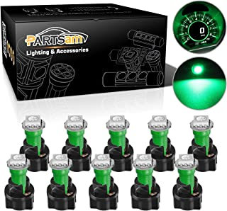 Partsam T5 73 74 Instrument Panel Gauge Cluster Dashboard LED Light Bulbs with Twist Sockets-10Pcs Green