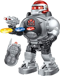 RoboShooter Remote Control Robot For Kids - Fun Toy Robot Fires Discs, Dances, Talks - Awesome Programmable RC Robot Toy For Boys & Girls Aged 5 6 7 8 9 10 By ThinkGizmos