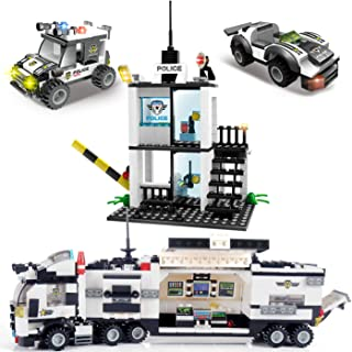 Riot City Police Building Blocks, Exercise N Play Toddlers Construction Toys Car Command Center Station Bricks for Boys Girls 6 7 8 9 10 (Black)