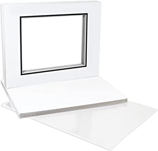 Golden State Art, Double Picture Mats with White Core Bevel Cut for 8X10 Photo Pictures (Mats, Backing, Clear Bags Included), White Over Black, 11x14-10 Pack (Double Mat)