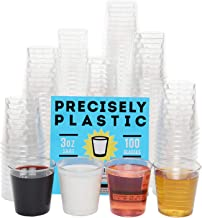 100 Shot Glasses Premium 3oz Clear Plastic Disposable Cups, Perfect Container for Jello Shots, Condiments, Tasting, Sauce, Dipping, Samples