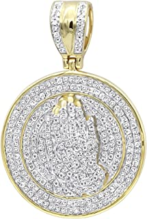 Mens 14K Gold Hip Hop Jewelry: Praying Hands Diamond Pendant Medallion 0.9ctw by Luxurman