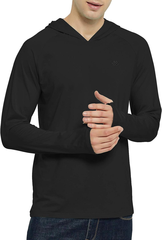 JINSHI Men/'s Long Sleeve Shirts Hiking Sweatshirts Thumb Hole Pullover Hoodie for Men Outdoor Running Shirts with Hood