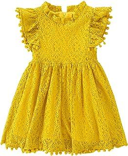 Niyage Little Girls Tank Dress Princess Flower Crochet Lace Tulle Dresses