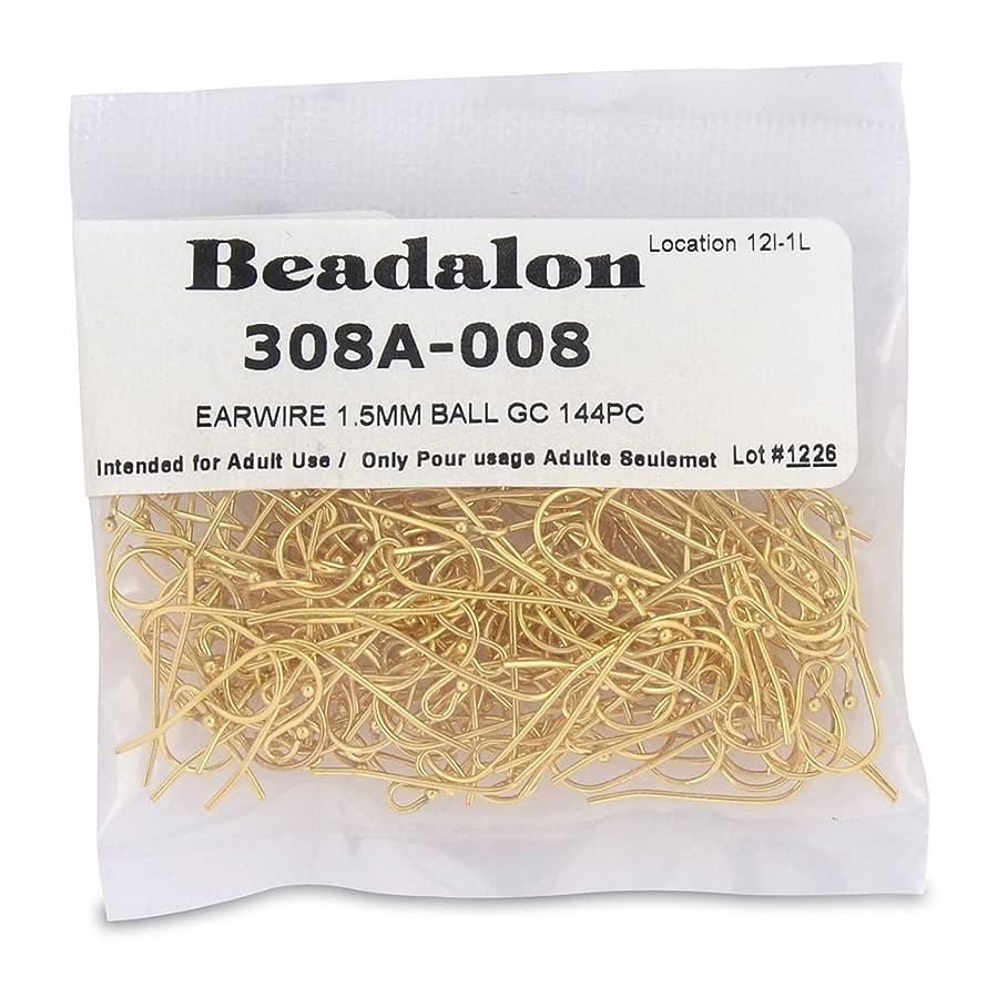 Beadalon 144-Piece 1-1/2-MM Ball Ear Wire, Nickel Free Gold Plate