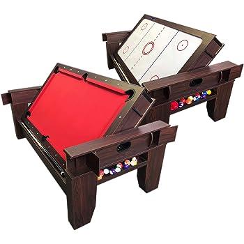 Simba Srl Tavolo da Biliardo 7 FT Carambola Rosso con Piano Air Hockey con Accessori