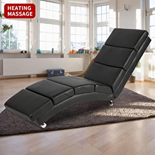 Yamadao Massage Chaise Lounge Floor Chair Sofa with Back Indoor, Black, with Remote 5 Modes, 8 Vibrating Nodes