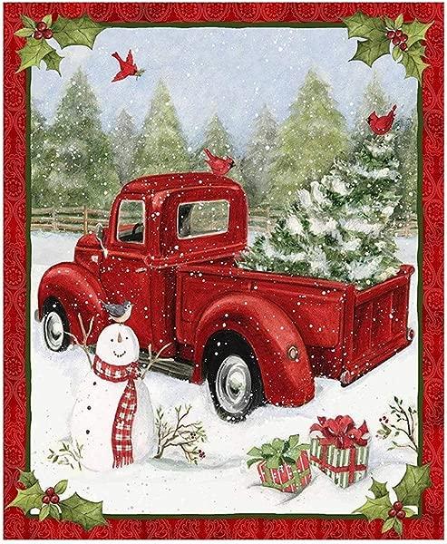 Sanmomo Red Truck Christmas Fun 36x44 Panel Snowman Gifts Snow Cotton Fabric Home Decoration