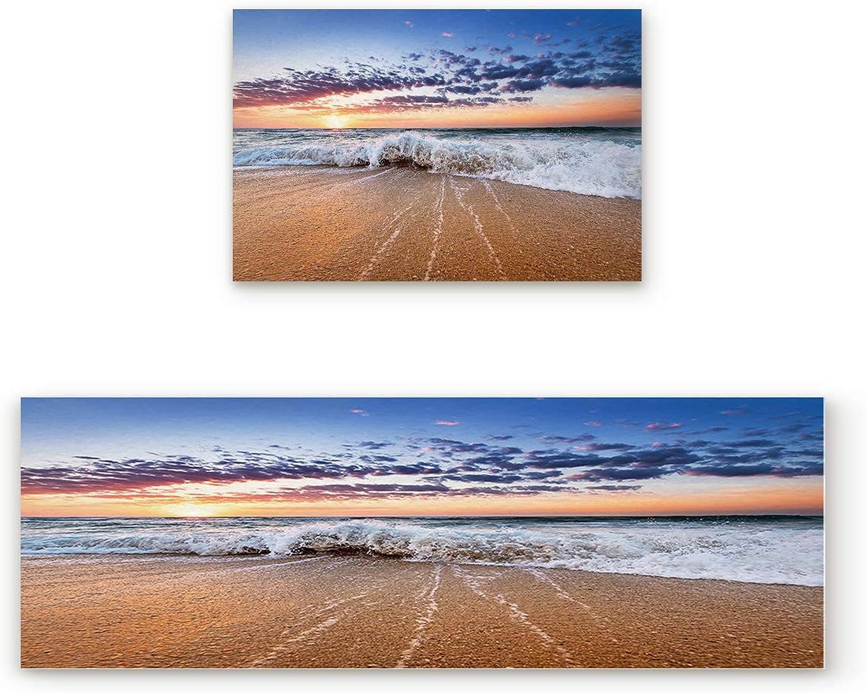 Fantasy Star Kitchen Rugs Sets 2 Piece Floor Mats Sunset Beach Wave Doormat Non-Slip Rubber Backing Area Rugs Washable Carpet Inside Door Mat Pad Sets (19.7  x 31.5 +19.7  x 47.2 )