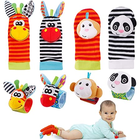 FancyWhoop Baby Rattle Neonato 8 Pezzi Sonaglio da Polso per Neonati e Calze Piedi Simpatici Animaletti Developmental Toys sonagli Neonato 0-12 Mesi Bambini (Arancia) (Arancia)