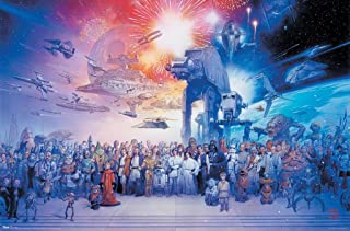 The Star Wars Galaxy - Episode I-VI - Movie Poster/Print (All Characters, Spaceships & Vehicles) (Size: 36