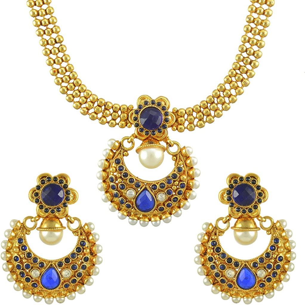 Dancing Girl Maroon Indian Kundan Jewelry Set for Women Girls Copper Alloy Necklace Indian Earrings