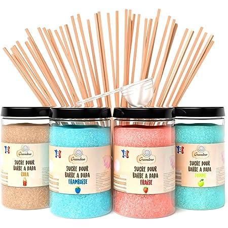Greendoso-Sucre Barbe à Papa pour Machine, Lot de (4 x 350 Gr) = 1,4 Kg (Fraise-Cola-Framboise-Pomme) Poudre Barbapapa pour Machine + 50 Bâtonnets de 30Cm ( Offerts ) +1 Cuillère Mesure
