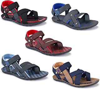 Aura Men Rexine Sandals - Pack of 5