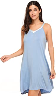 Women Sleepwear Sexy Nightwear V Neck Chemise Nightgown Cotton Sleep Dress