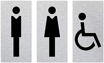 SCHILDER Systeme Aluminium wc-bordset, pictogram voor dames en heren, rolstoel, 50 x 100 mm, geslepen, geanodiseerd alumin...