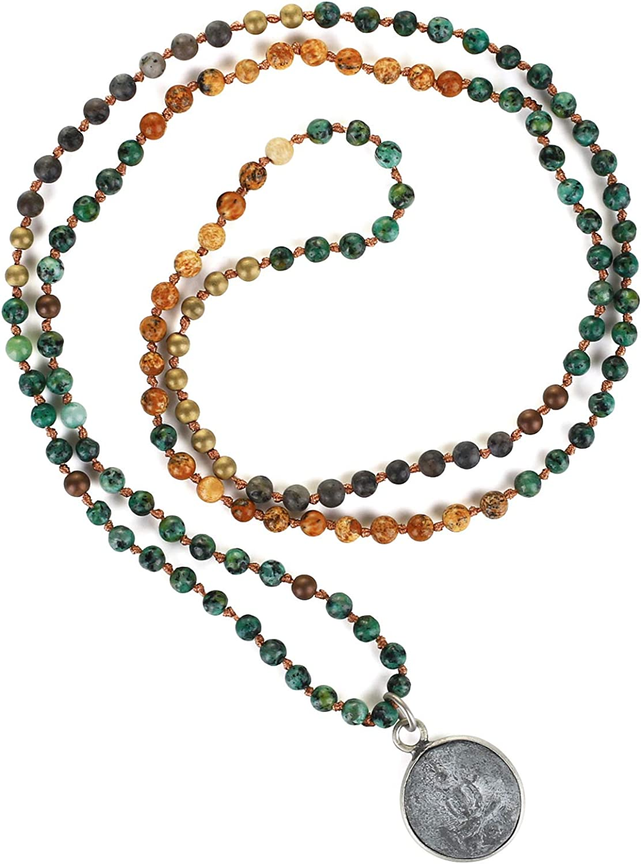 KELITCH Buddha Long Mala Beaded Necklaces Natural Gemstones Crystals Beads Pendant Prayer Meditation Necklaces New Handmade Fashion Jewelry