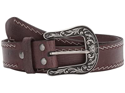M&F Western Nocona Zigzag Stitched Edge Belt (Distressed Brown) Women